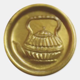 Sticker Rond Joint de théière de cire d'or