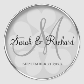Sticker Rond Joint décoré d'un monogramme de mariage