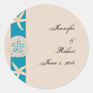 Sticker Rond Joint d'enveloppe d'étoiles de mer de bande de