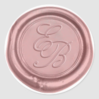 Sticker Rond Joint élégant de cire de monogramme de mariage