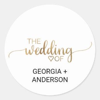 Sticker Rond Joint élégant d'enveloppe de mariage de