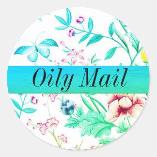 Sticker Rond Joint huileux d'enveloppe d'huiles essentielles de