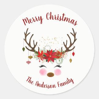 Sticker Rond Joint mignon d'enveloppe de vacances de Noël de