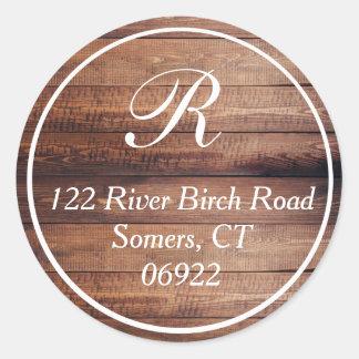 Sticker Rond Joint mince en bois rustique d'adresse de
