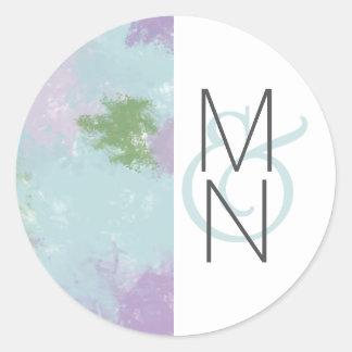 Sticker Rond Joint pourpre de faveur de monogramme de mariage