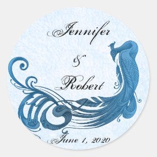 Sticker Rond Joint vintage d'enveloppe de paon de bleu royal