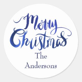 Sticker Rond Joints bleus et blancs d'enveloppe de Joyeux Noël