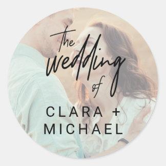 Sticker Rond Joints lunatiques d'enveloppe de mariage de photo