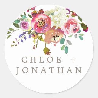 Sticker Rond Joints simples d'enveloppe de mariage de bouquet