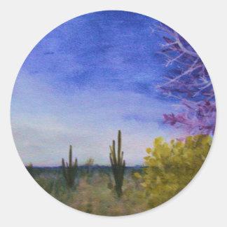 Sticker Rond Jour dans le paysage de désert de l'Arizona dehors