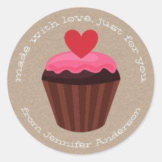 Sticker Rond Jour de Valentines doux rouge-rose de petit gâteau