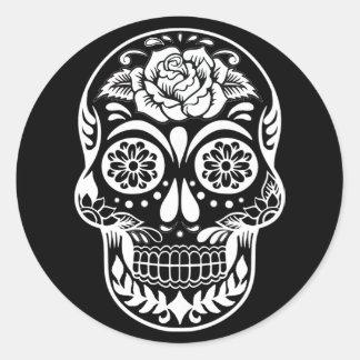 Sticker Rond Jour du crâne mort en noir et blanc moderne