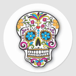 Sticker Rond Jour mexicain coloré de crâne de sucre des morts