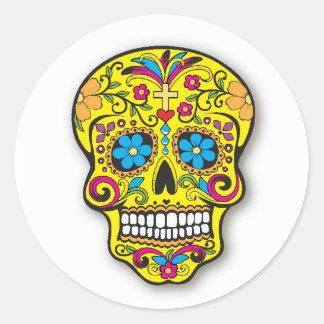Sticker Rond Jour mexicain jaune de crâne de sucre des morts