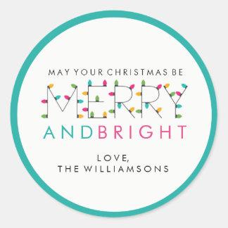 Sticker Rond Joyeuses et lumineuses lumières de fête d'arbre de