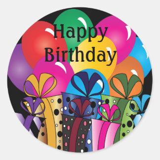 Sticker Rond Joyeux ballons colorés et cadeaux mignons de