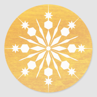 Sticker Rond Joyeux hiver de Noël élégant de flocon de neige