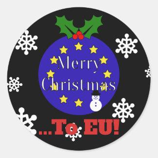 """Sticker Rond """"Joyeux Noël. À l'UE !"""" Noël de Brexit"""