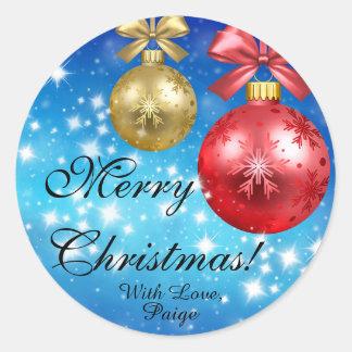 Sticker Rond Joyeux Noël avec amour personnalisé