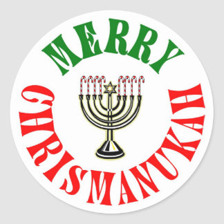 Sticker Rond Joyeux Noël Chanukah Menorah de Chrismanukah-