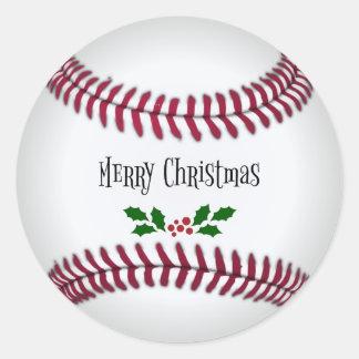 Sticker Rond Joyeux Noël, conception de Base-ball-Thème