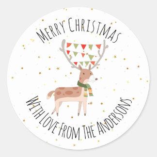 Sticker Rond Joyeux Noël de cerfs communs mignons de Noël
