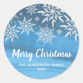 Sticker Rond Joyeux Noël de flocon de neige bleu Editable