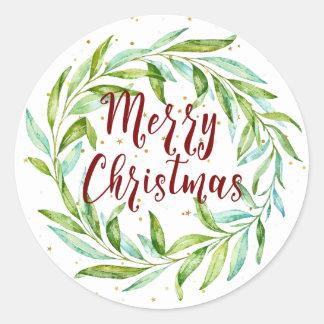 Sticker Rond Joyeux Noël de jolie d'aquarelle guirlande de