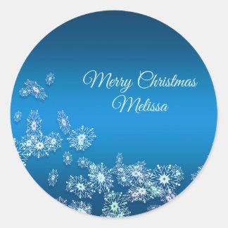 Sticker Rond Joyeux Noël. Greeting.Name.