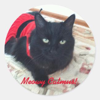 Sticker Rond Joyeux Noël - Meowy Catmus ! comporter fumeux