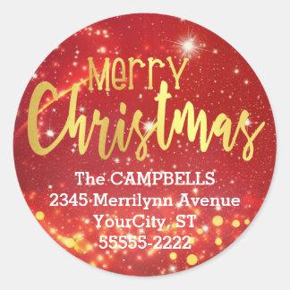 Sticker Rond Joyeux Noël, or/lumières blanches, adresse de