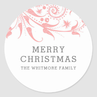 Sticker Rond Joyeux Noël rose de Frost