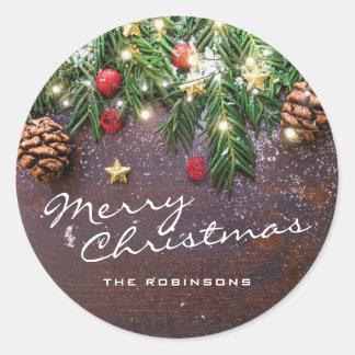 Sticker Rond Joyeux Noël rustique | bonnes fêtes