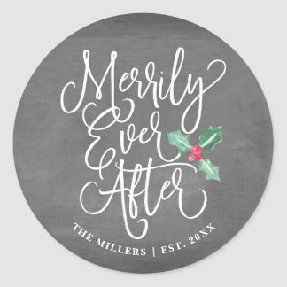 Sticker Rond Joyeux pour toujours épouser le gris des vacances