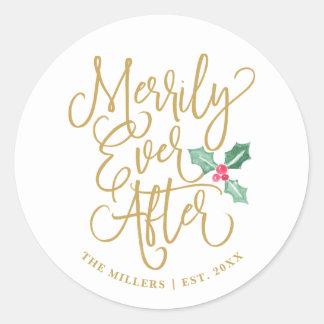 Sticker Rond Joyeux pour toujours épouser l'or des vacances |