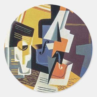 Sticker Rond Juan Gris - violon et verre - art abstrait
