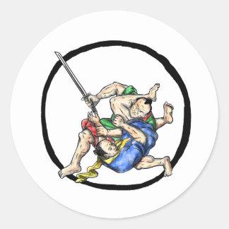 Sticker Rond Judo samouraï de Jui Jitsu combattant le tatouage