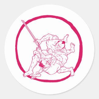 Sticker Rond Jui samouraï Jitsu combattant le dessin d'Enso