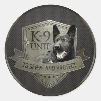 Sticker Rond K-9 unité GSD - chien de berger allemand de