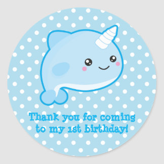 Sticker Rond Kawaii Narwhal