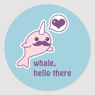 Sticker Rond Kawaii Narwhal avec la moustache
