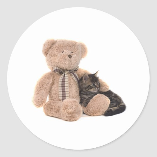 Sticker Rond kitten in the arms of a teddy bear