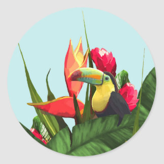 Sticker Rond La banane tropicale de toucan part du bouquet