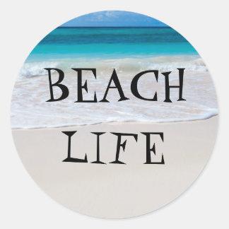 Sticker Rond La belle vie de plage
