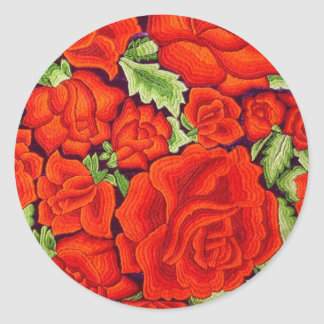 Sticker Rond La broderie mexicaine de main fleurit des joints