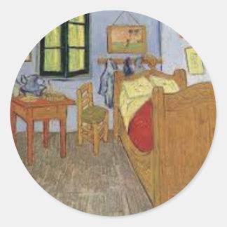 Sticker Rond La chambre de Vincent Van Gogh (The room)