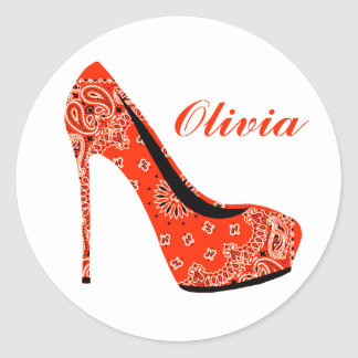 Sticker Rond La coutume stylet orange fascinante à la mode