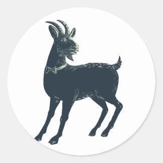 Sticker Rond La cravate d'arc de port de chèvre Scratchboard