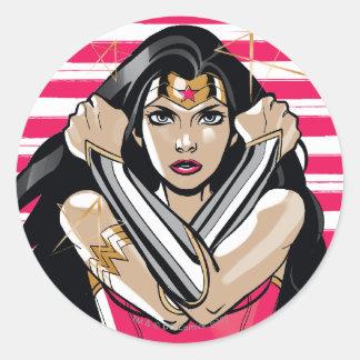 Sticker Rond La femme de merveille défendent - le modèle
