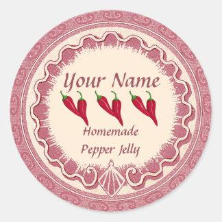 Sticker Rond La gelée de poivre personnalisent le rose